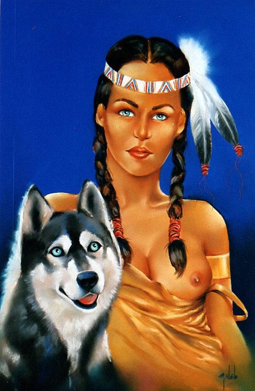 indienne, chien, plume,